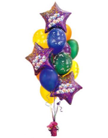 Send A Birthday Bouquet 4900 1 Giant Balloons Star Or 3 18 Mylars With 12 Happy Latex